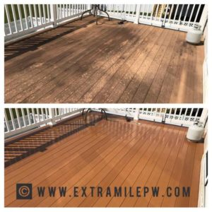 Power washing of wood deck by Extra Mile Powerwashing in Martinsburg, WV