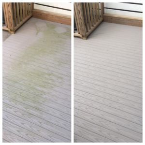 Composite deck before and after pressure washing by Extra Mile Powerwashing
